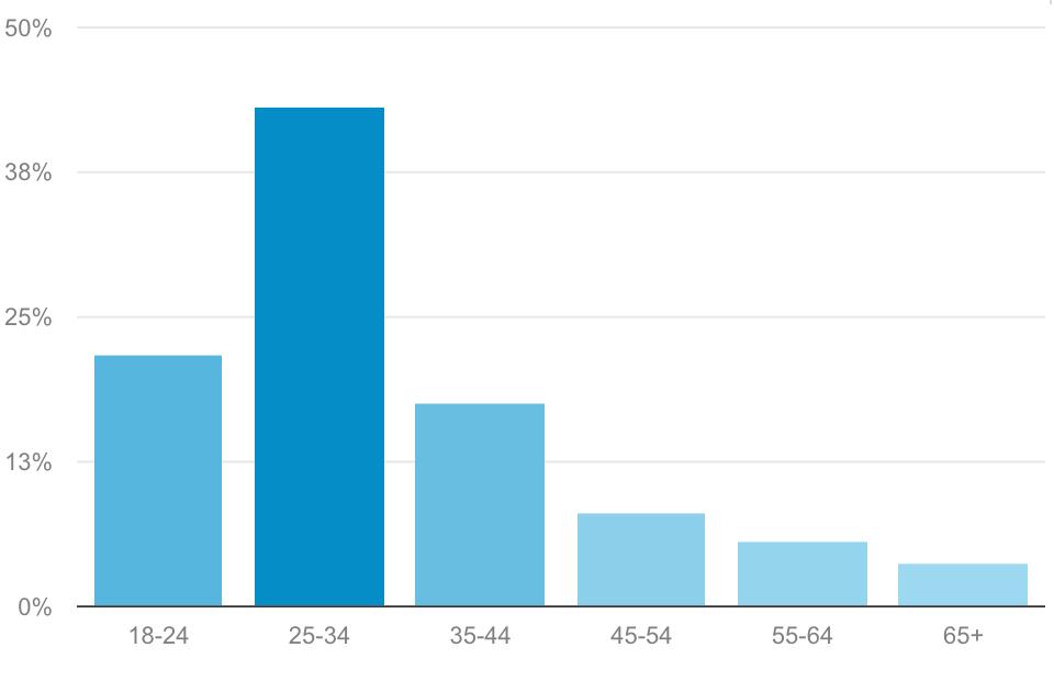 نمودار بازدیدکنندگان بر اساس رده سنی